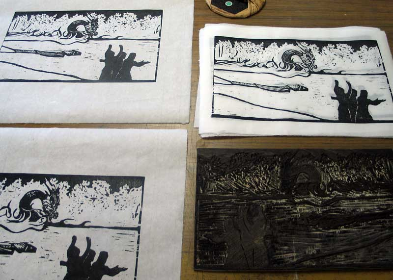 The editioned woodcut. Title: The Midst