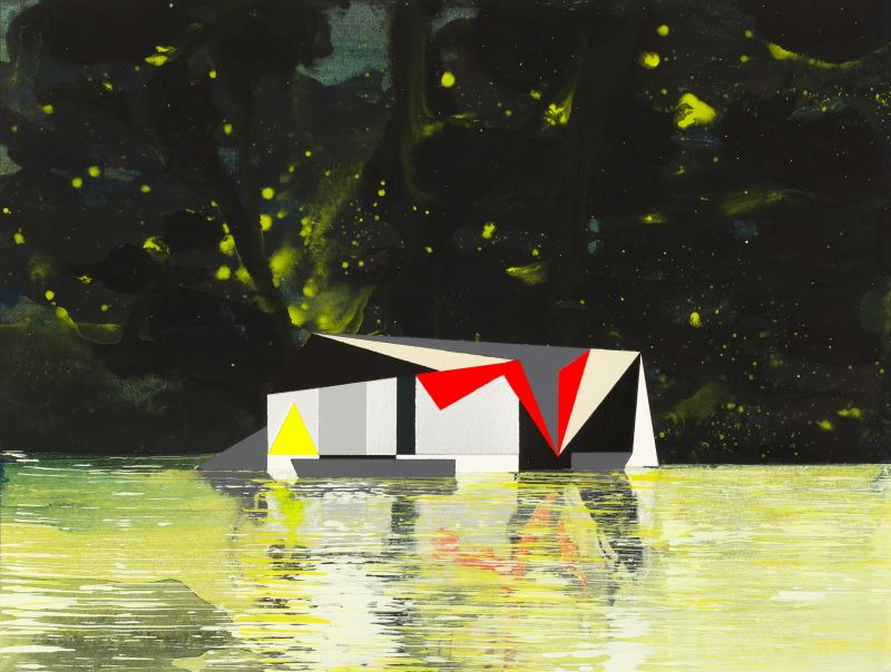Click the image for a view of: Gunther Herbst. Raft 6. 2015. Acrylic on paper. 223X300mm