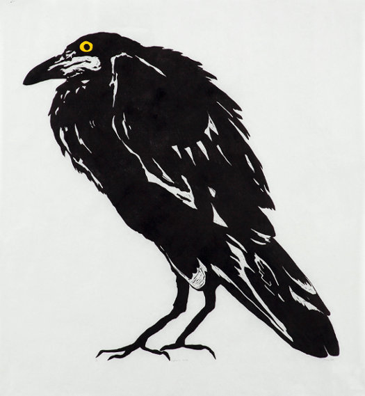 Click the image for a view of: Fiona Pole  Kyosai's Crow  2015  Linocut, chine collé  970X920mm