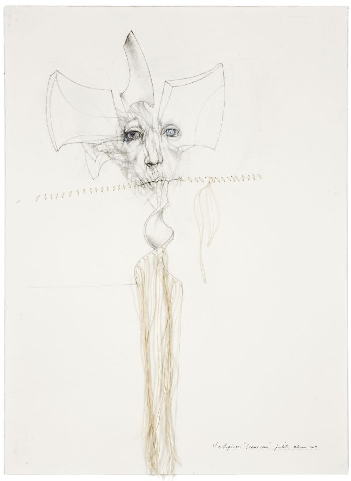 Click the image for a view of: Mouthpiece. Scarecrone. 2011. Pencil, coloured pencil on paper with cotton string. 760X565mm