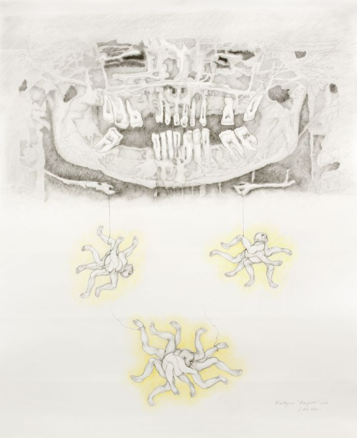 Click the image for a view of: Mouthpiece. Manipulator. 2011. Pencil and coloured pencil on paper. 1246X1022mm